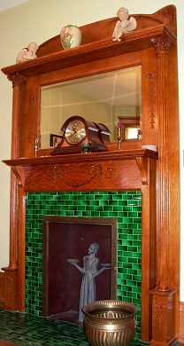 Fireplace was recreated from an old photograph